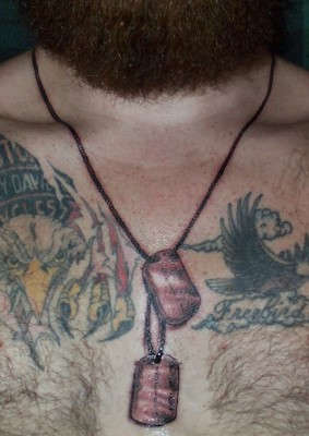 Pics For > Dog Tag Tattoos For Men Around Neck